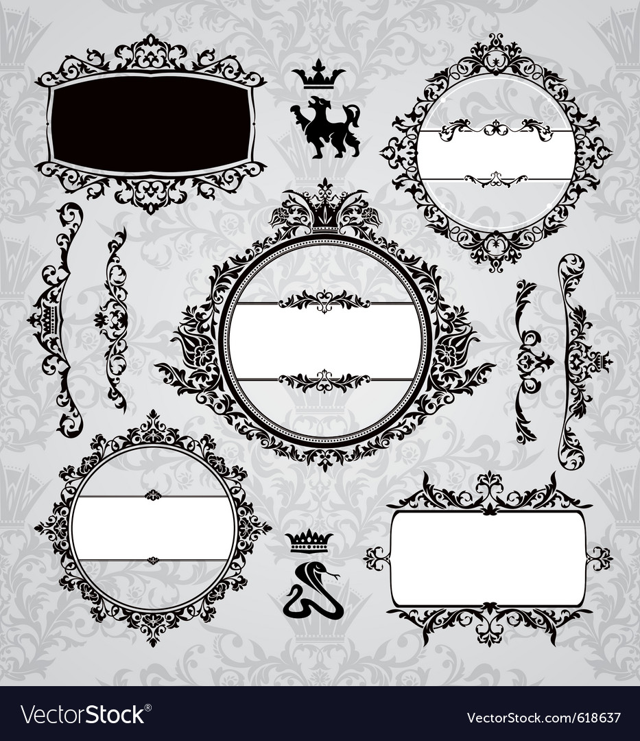 Frames and vintage design elements vector | Price: 1 Credit (USD $1)