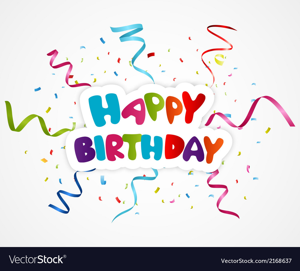 Happy birthday greeting card with ribbon vector | Price: 1 Credit (USD $1)