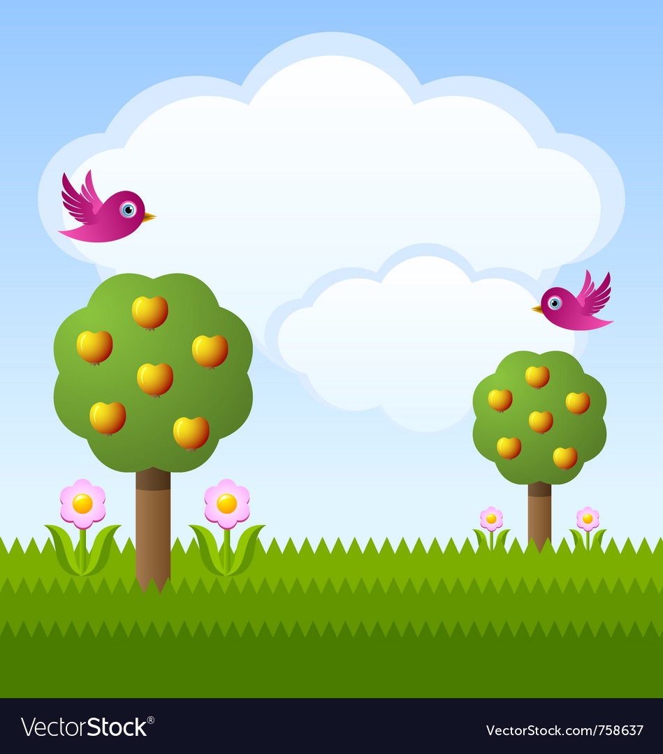 Idyllic fruit garden vector | Price: 1 Credit (USD $1)