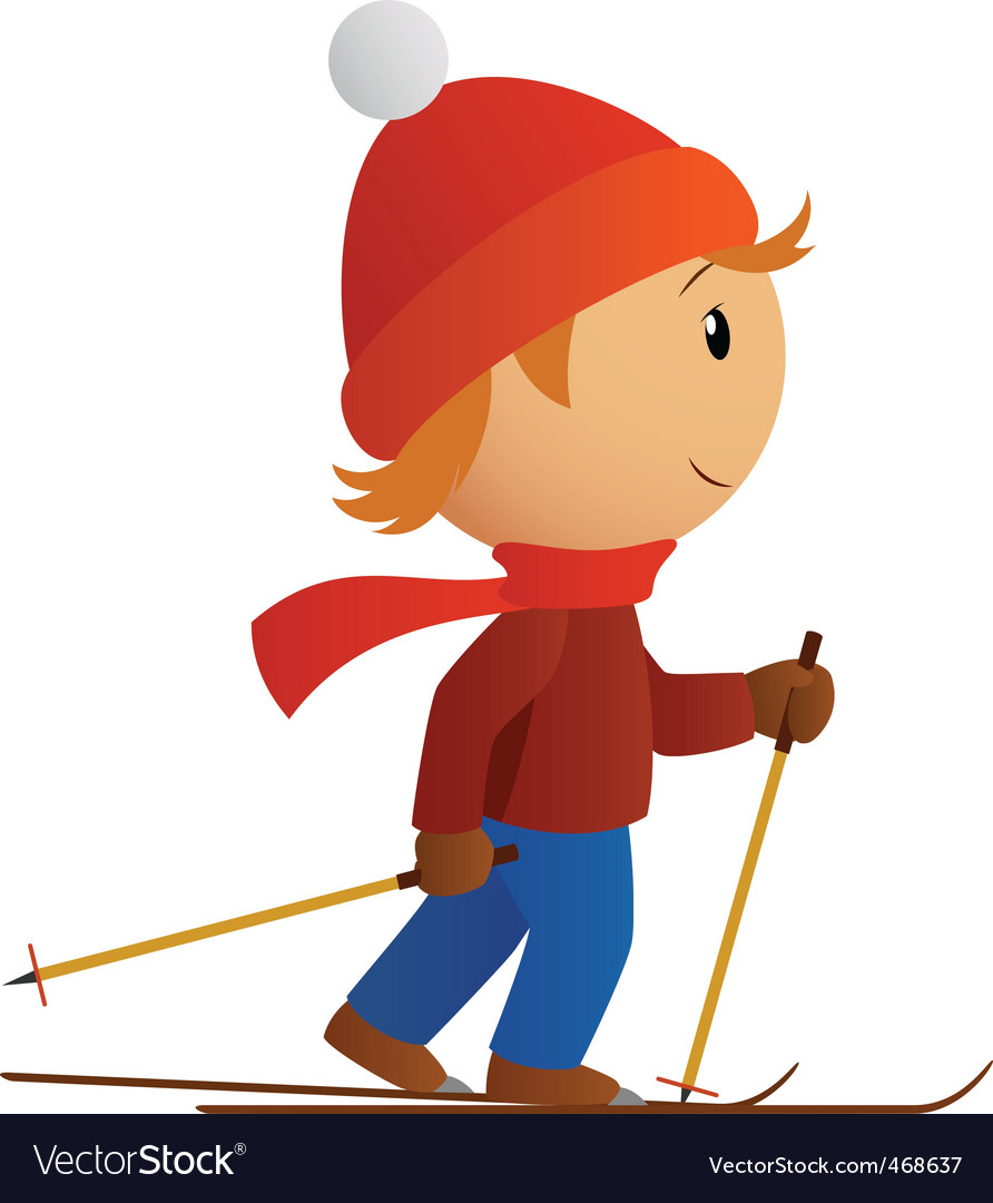 Little skier in red hat vector | Price: 1 Credit (USD $1)