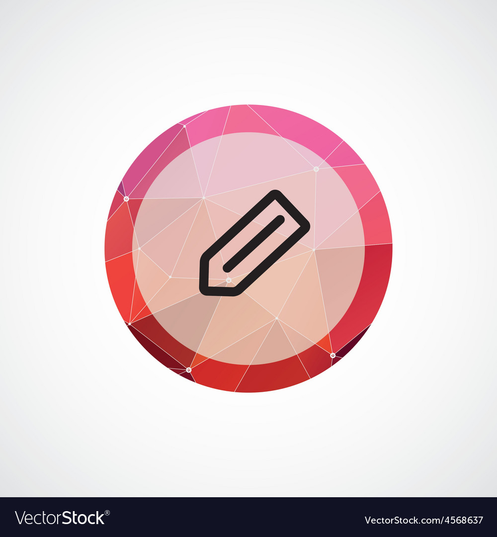 Pencil circle pink triangle background icon vector | Price: 1 Credit (USD $1)