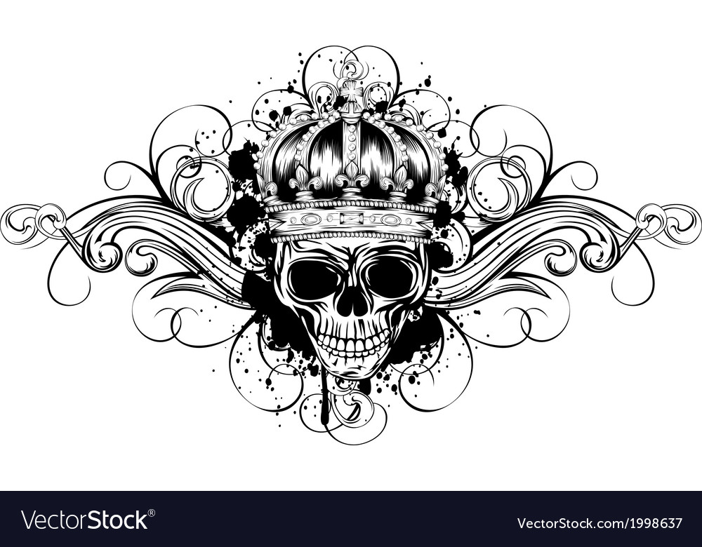 Skull in crown with patterns vector | Price: 1 Credit (USD $1)