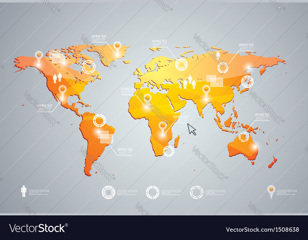 3d world map and infographics design templat vector | Price: 1 Credit (USD $1)