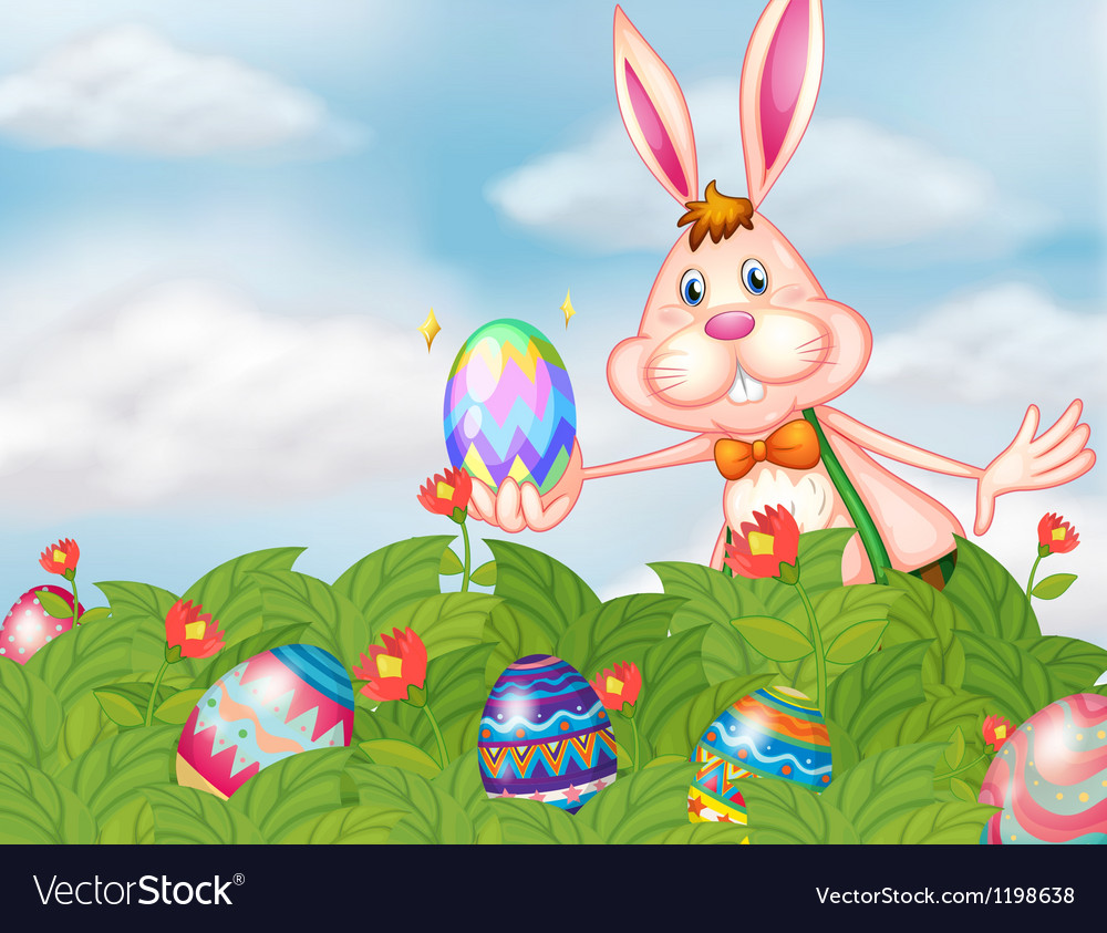 A bunny with eggs at the garden vector | Price: 1 Credit (USD $1)