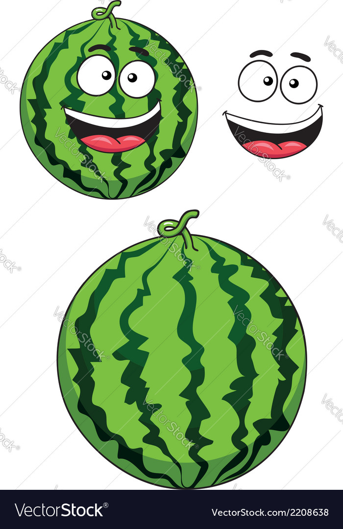 Cartoon ripe watermelon fruit vector | Price: 1 Credit (USD $1)
