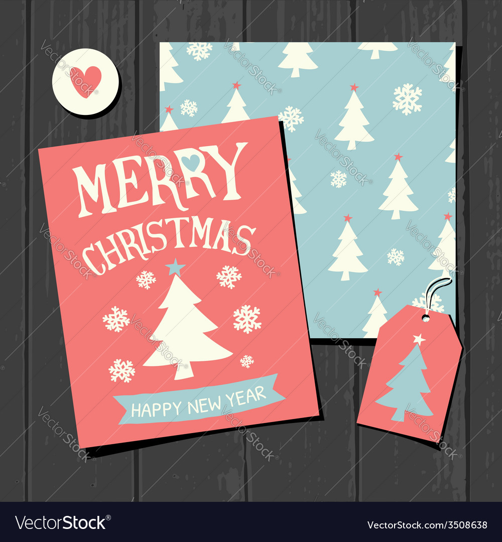 Christmas templates retro paper collection vector