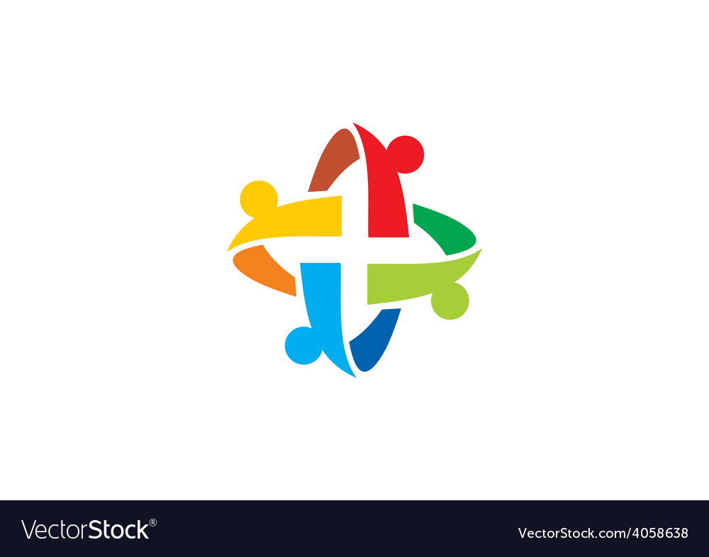 Circular people teamwork group abstract logo vector | Price: 1 Credit (USD $1)