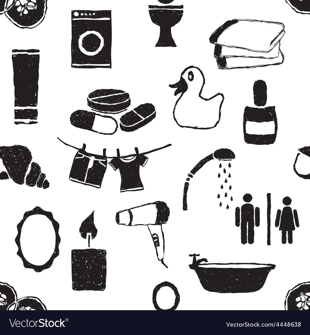 Doodle bathroom seamless pattern vector