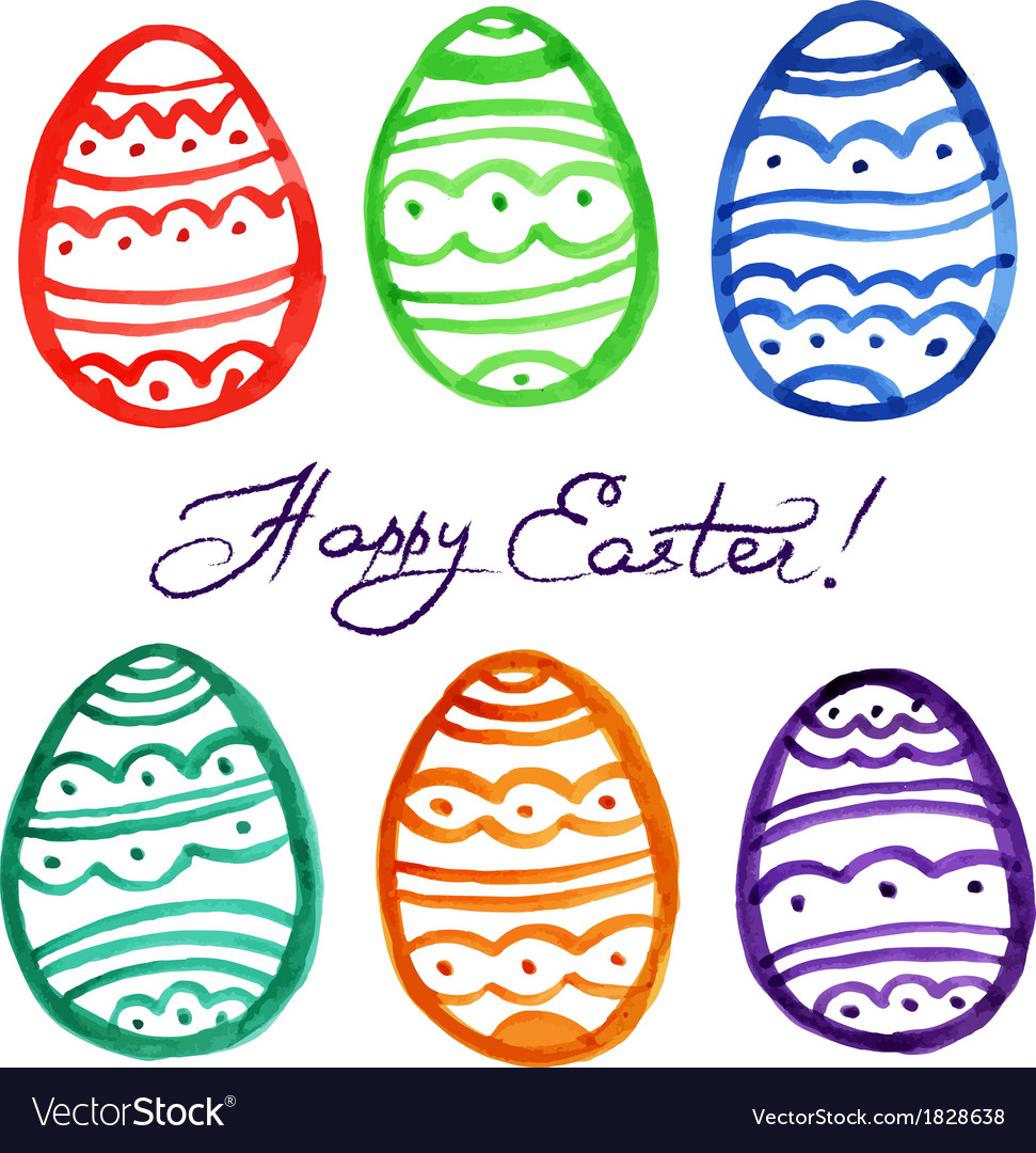 Easter watercolor eggs vector | Price: 1 Credit (USD $1)