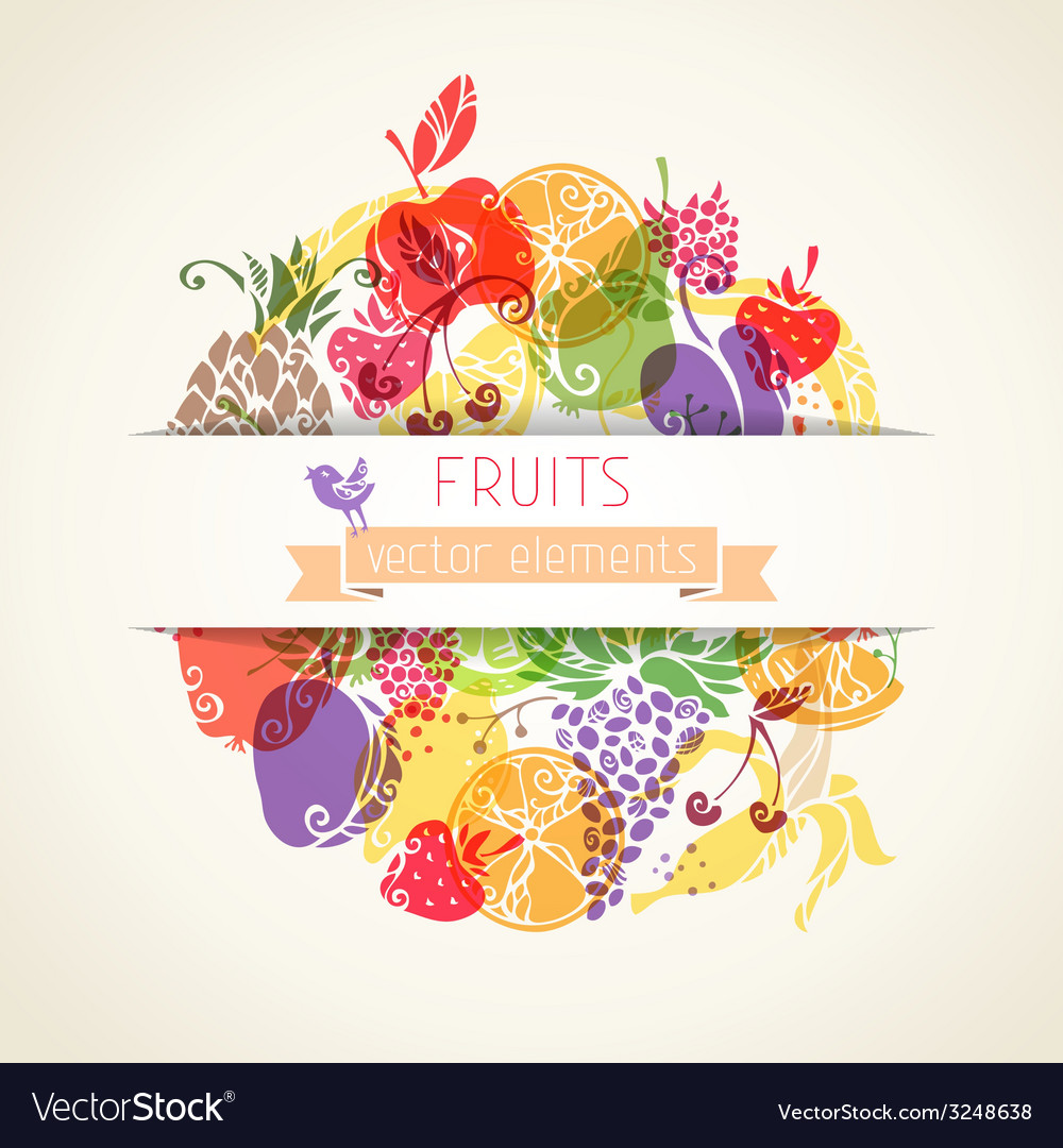 Fruits and berries in the circle on paper vector | Price: 1 Credit (USD $1)