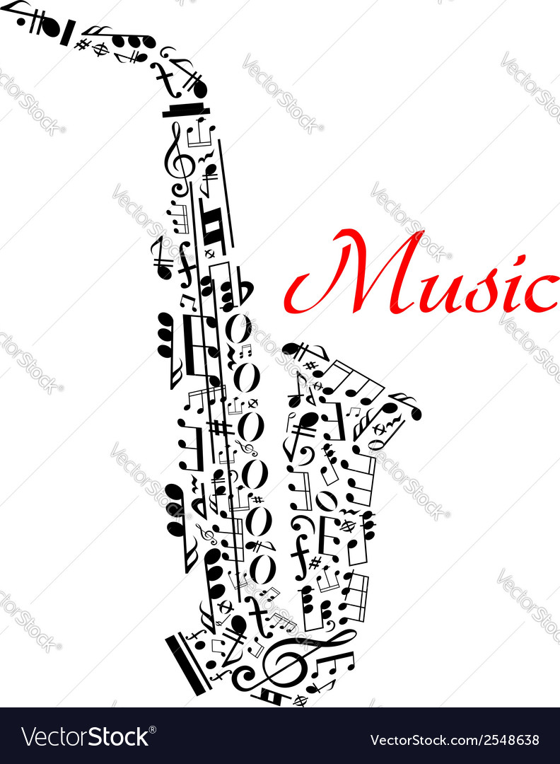 Saxophone with musical notes vector | Price: 1 Credit (USD $1)