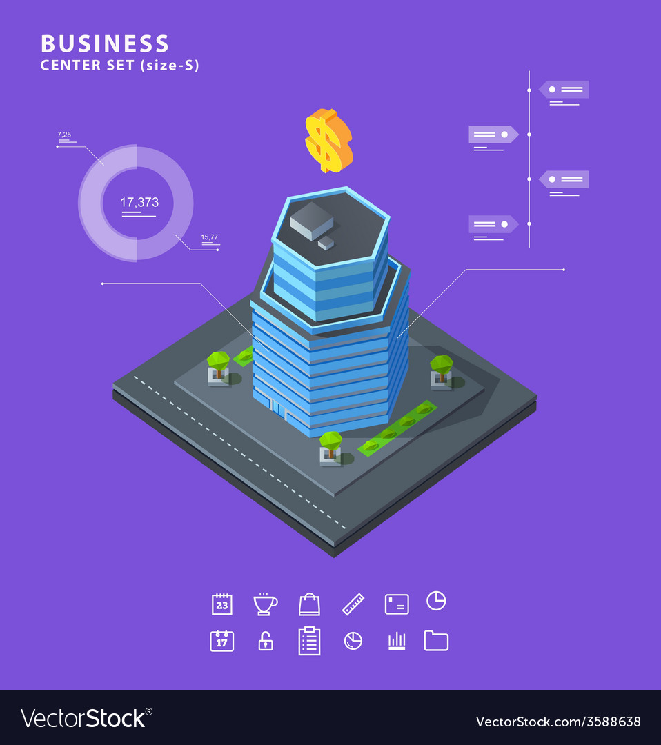 Set business isometric building icons diagrams vector | Price: 1 Credit (USD $1)