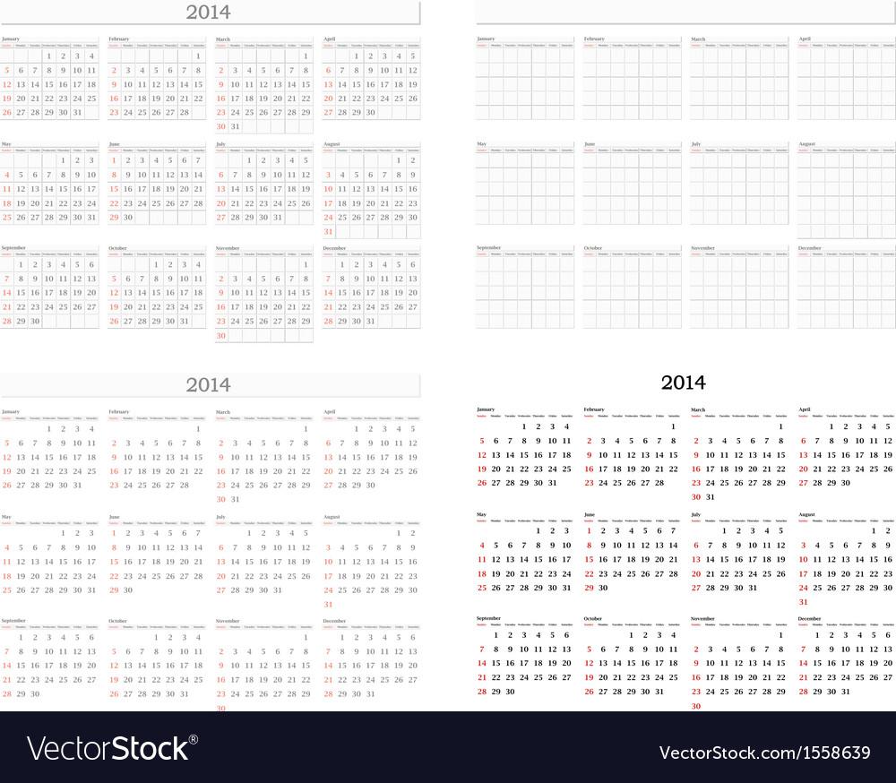 2014 calendar template set vector | Price: 1 Credit (USD $1)