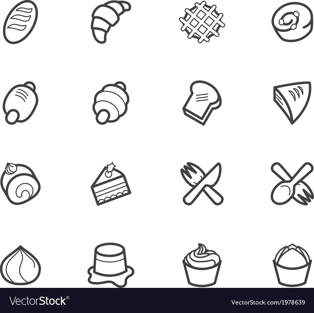 Bakery popular icon set on white background vector | Price: 1 Credit (USD $1)