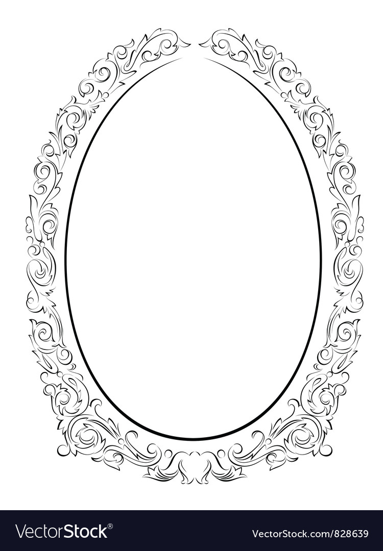 Calligraphy penmanship oval baroque frame black vector | Price: 1 Credit (USD $1)