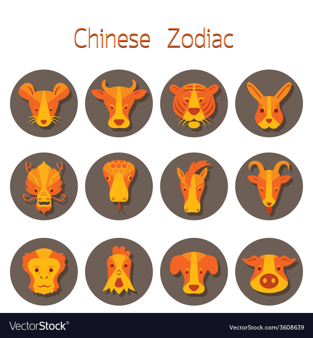 Chinese zodiac icons set vector | Price: 1 Credit (USD $1)