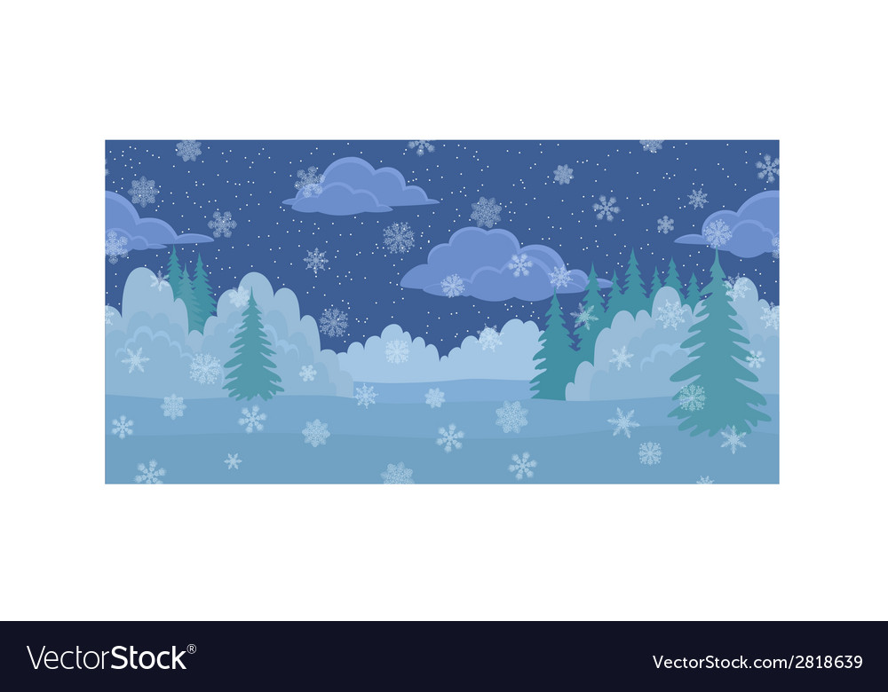 Christmas landscape night winter forest vector | Price: 1 Credit (USD $1)