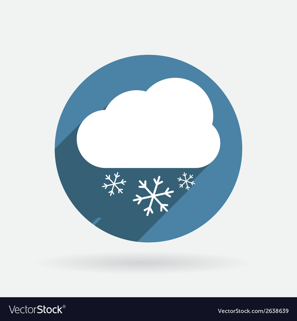 Cloud snow circle blue icon with shadow vector | Price: 1 Credit (USD $1)
