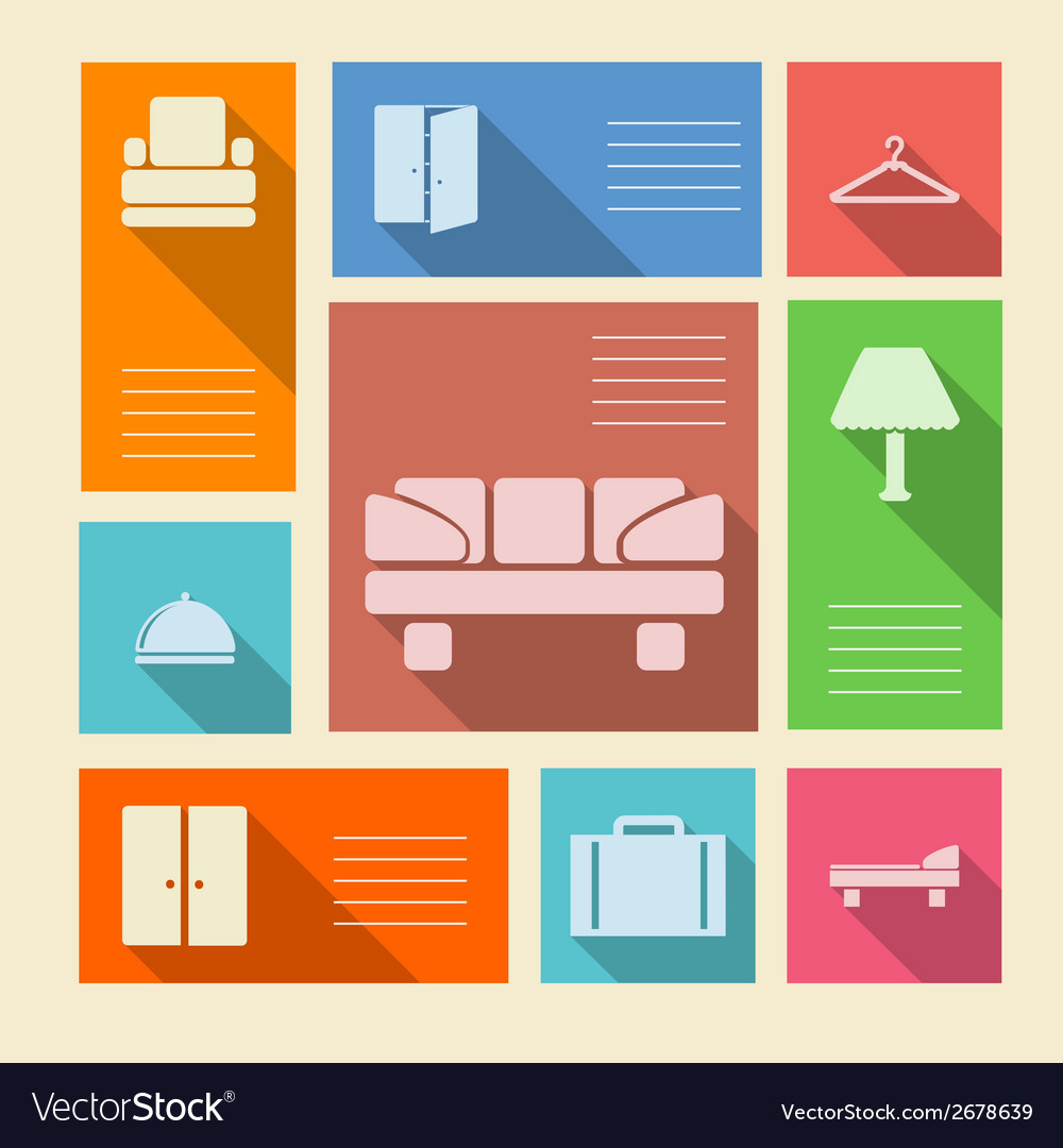 Colored icons for hotel with place for text vector | Price: 1 Credit (USD $1)