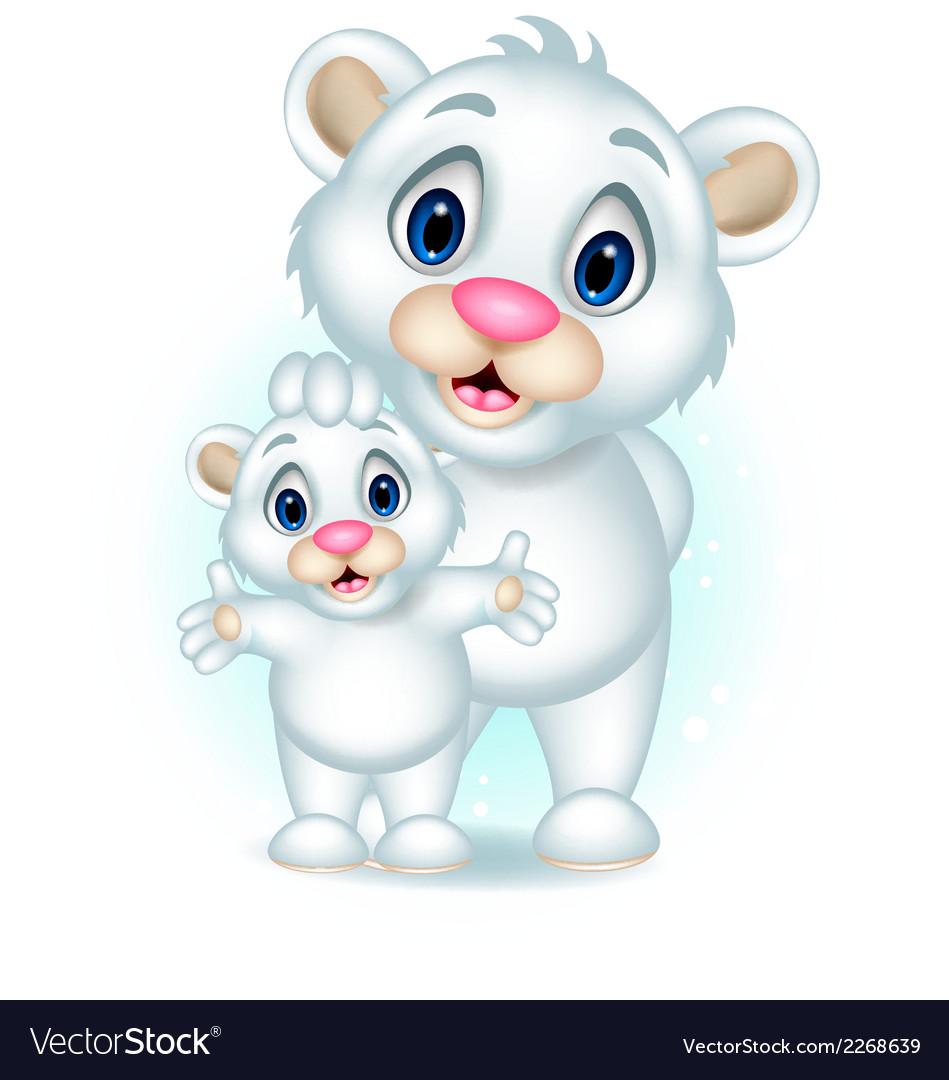 Cute polar bear with her son vector | Price: 1 Credit (USD $1)