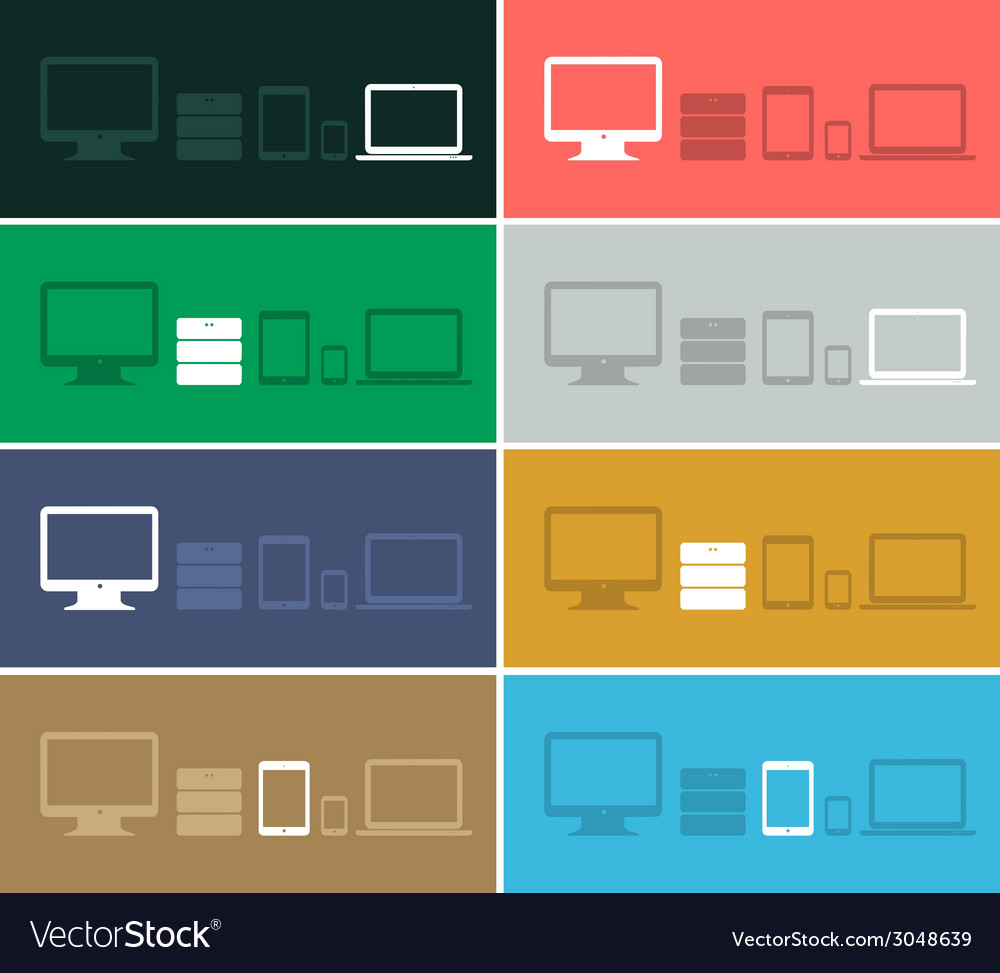 Flat design ui device icons collections on colored vector | Price: 1 Credit (USD $1)