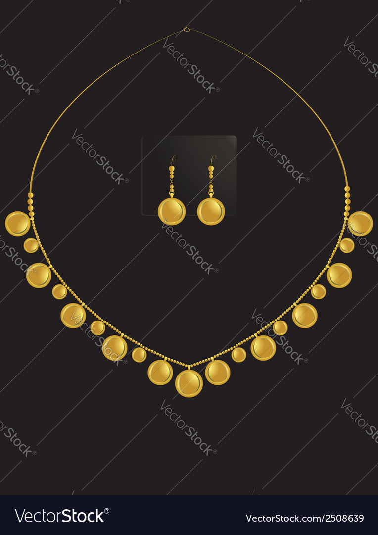 Gold coin necklace set 1 vector | Price: 1 Credit (USD $1)