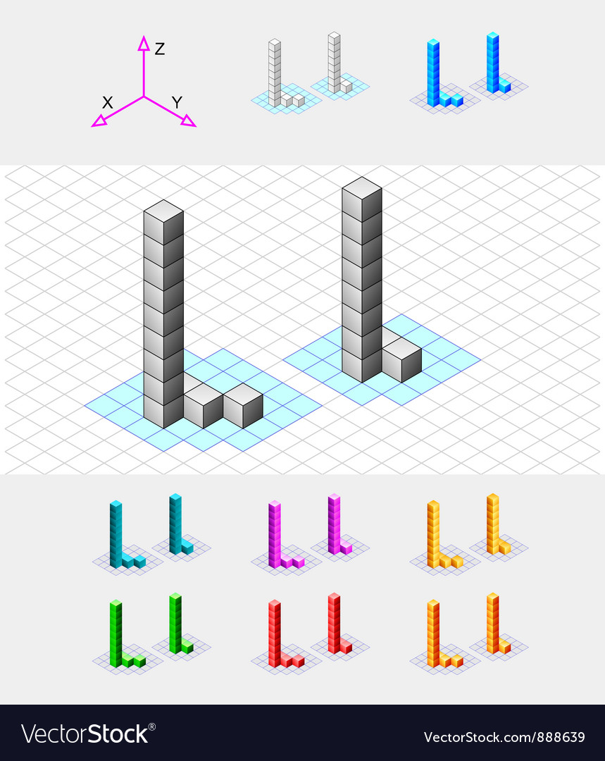Isometric font from the cubes letter l vector | Price: 1 Credit (USD $1)