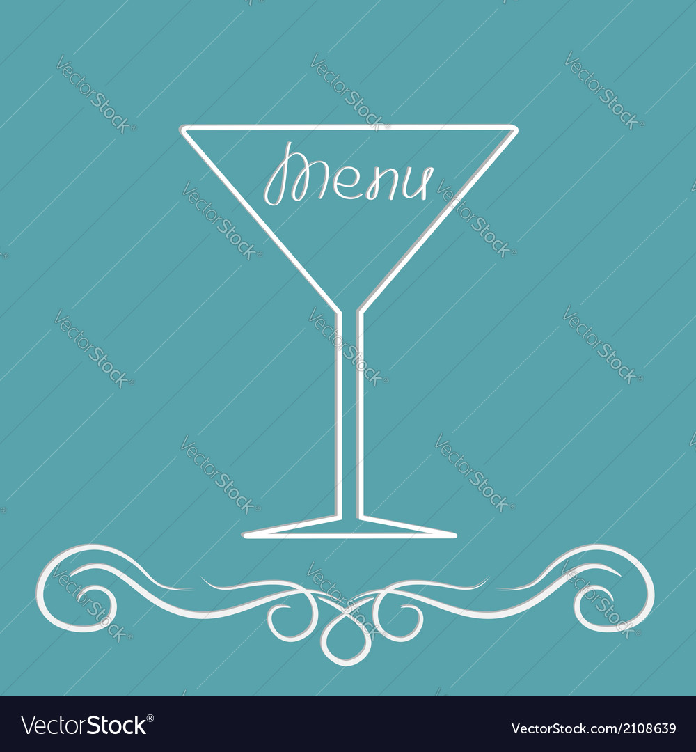 Menu cover design with martini glass calligraphic vector | Price: 1 Credit (USD $1)