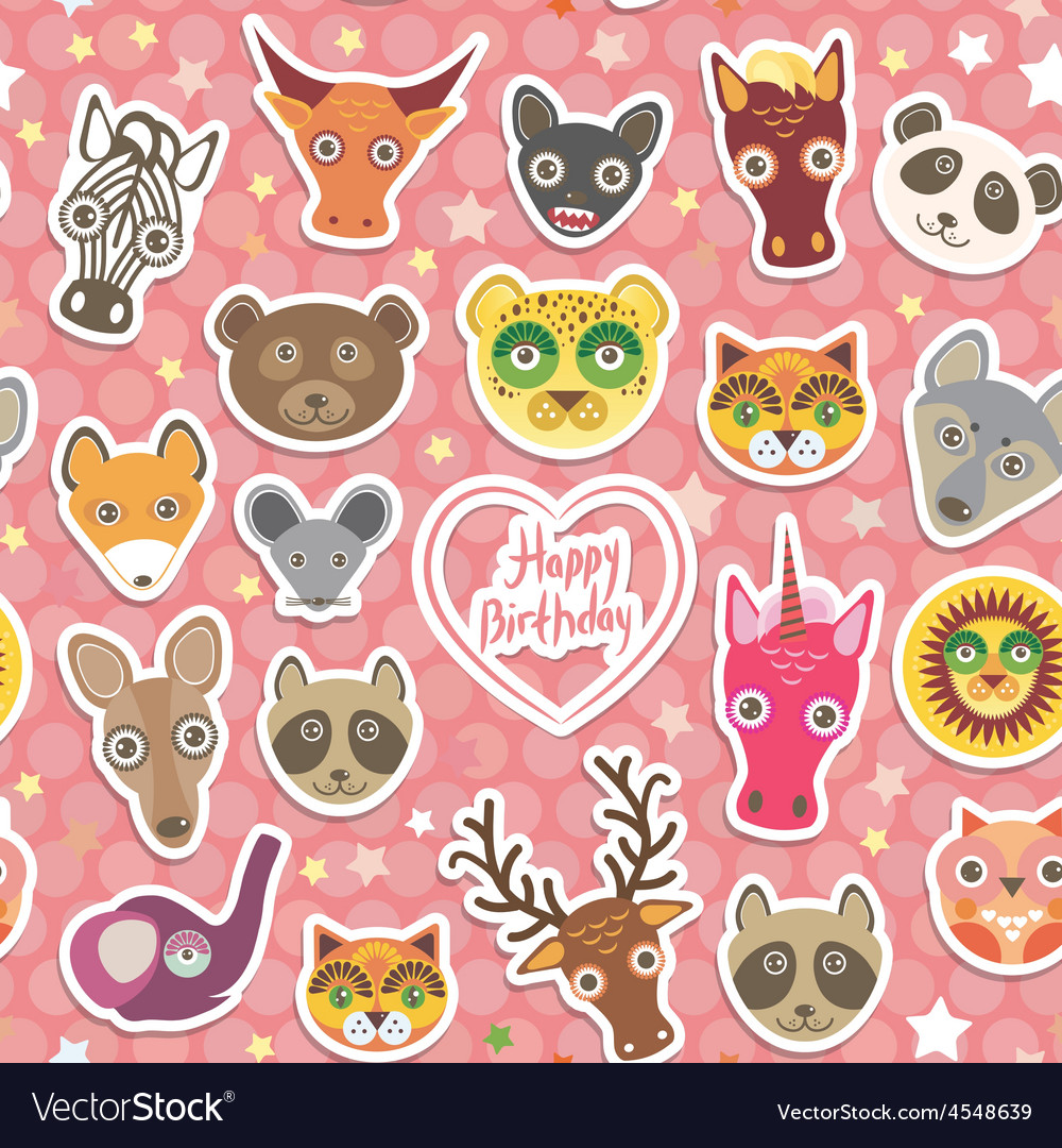 Seamless pattern funny animals white heart on pink vector | Price: 1 Credit (USD $1)