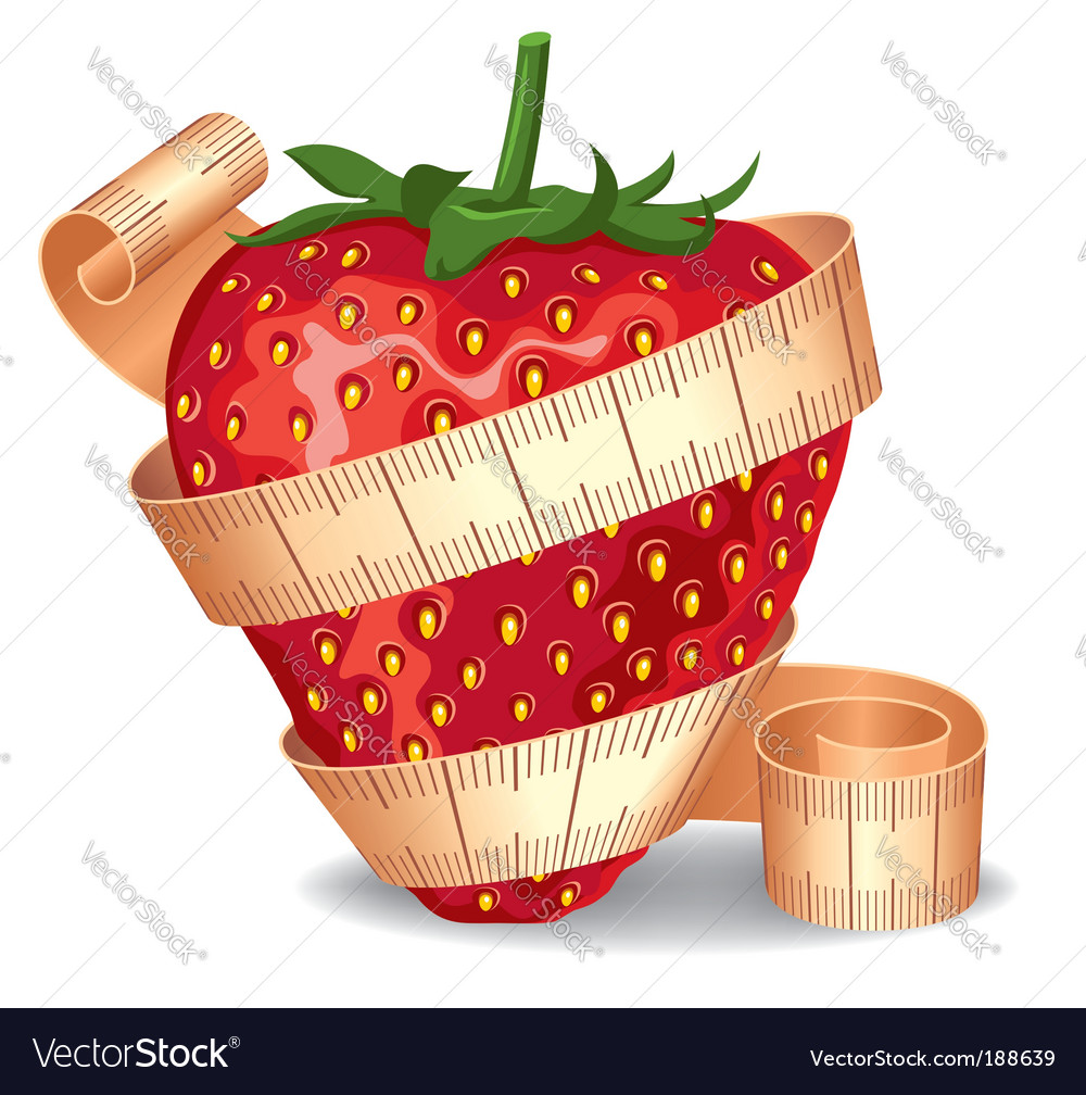 Strawberry in a measuring tape vector | Price: 1 Credit (USD $1)