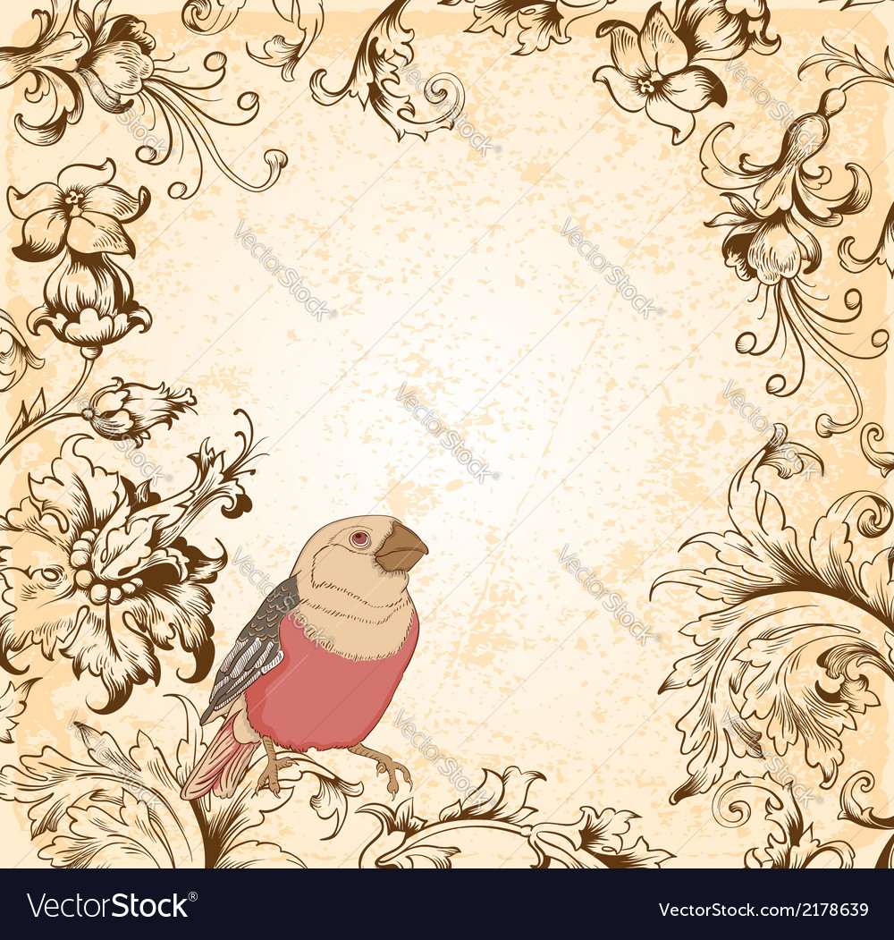 Victorian floral background with bird vector | Price: 1 Credit (USD $1)