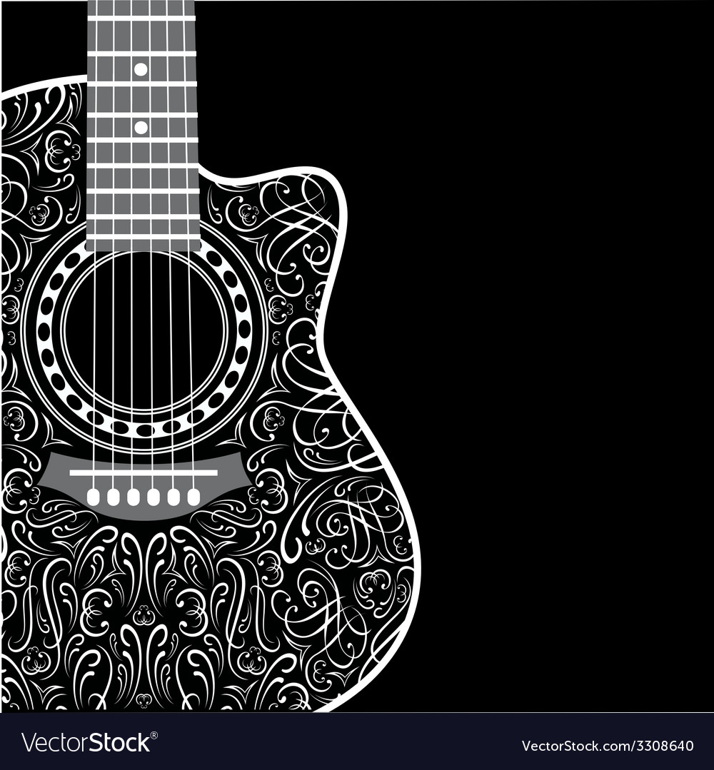 Background with clipped guitar and stylish ornamen vector | Price: 1 Credit (USD $1)