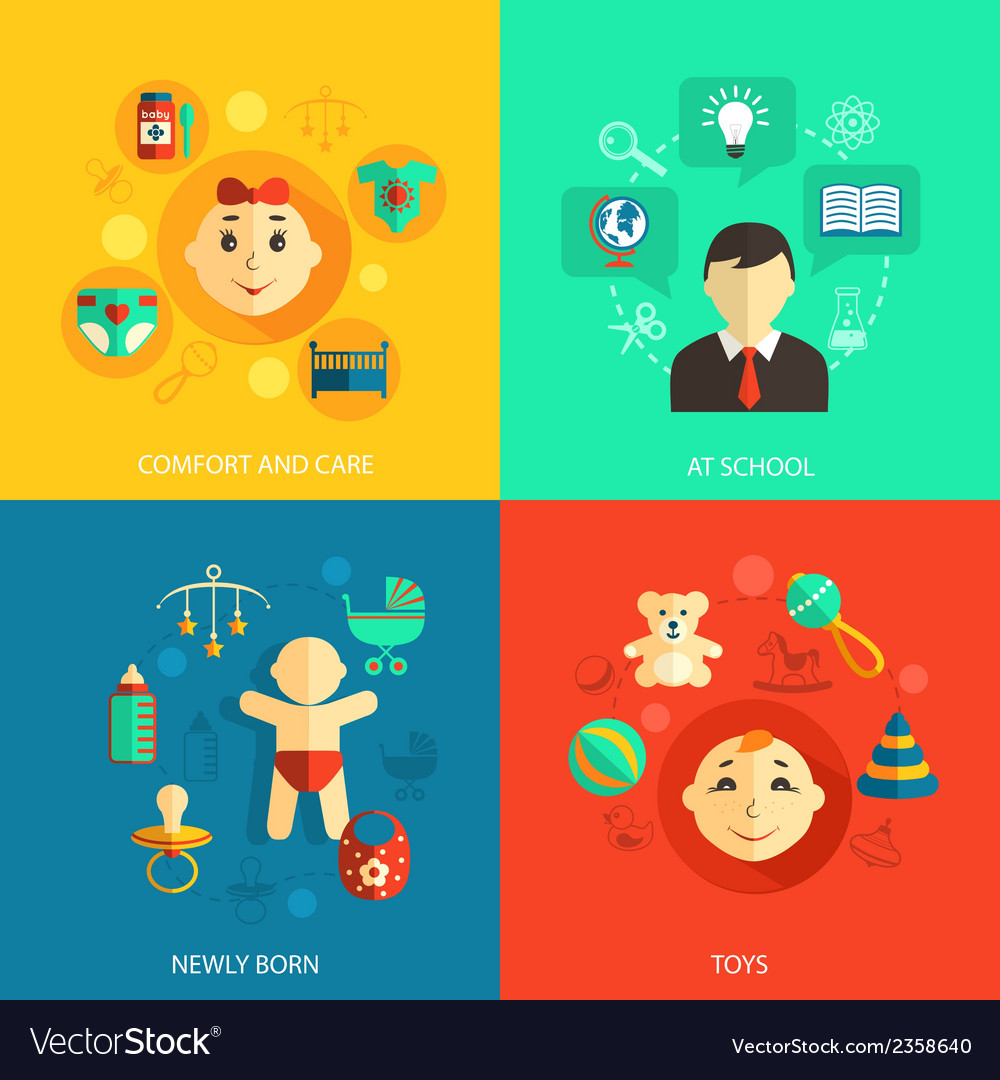 Children concept flat icons vector | Price: 1 Credit (USD $1)
