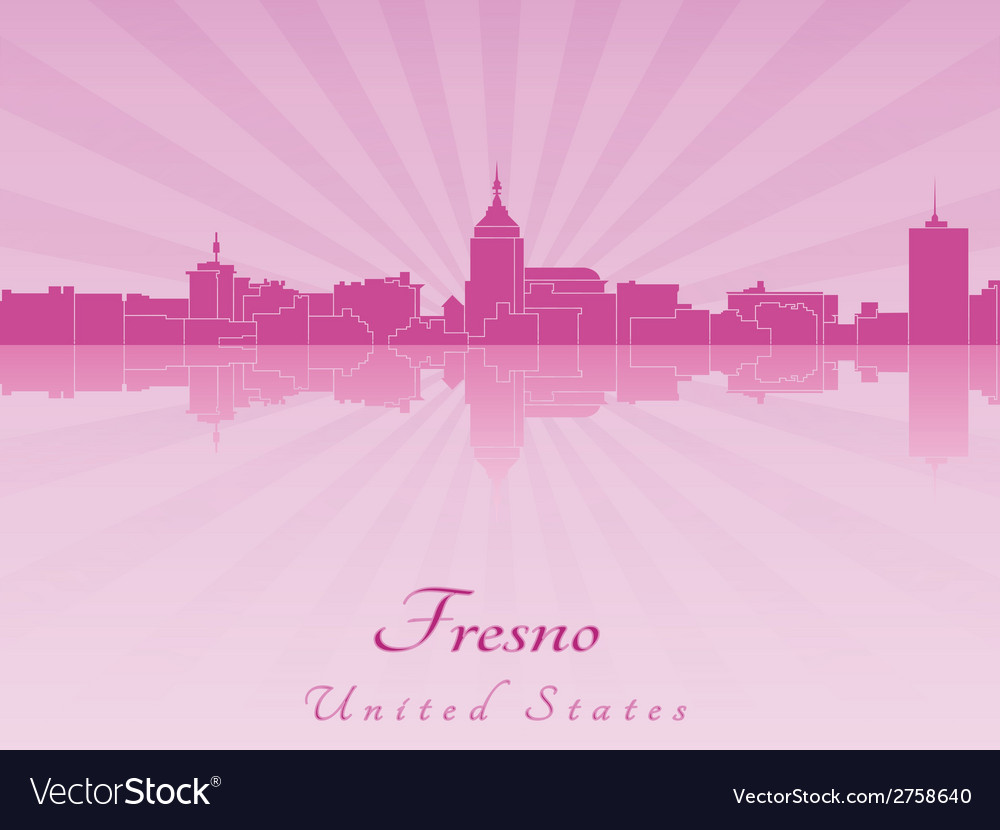 Fresno skyline in radiant orchid vector | Price: 1 Credit (USD $1)