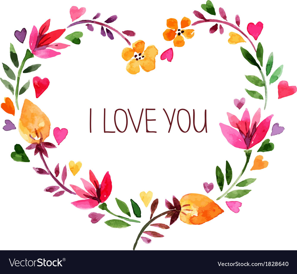 Love card with watercolor floral bouquet vector