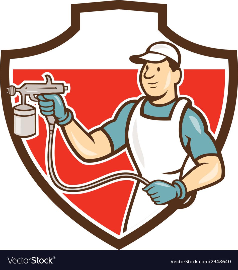 Painter spray gun spraying shield cartoon vector | Price: 1 Credit (USD $1)