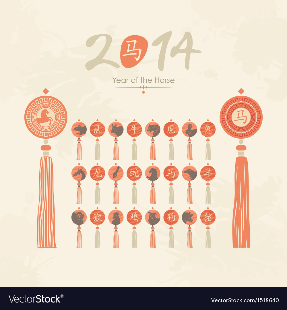 Tassels set with chinese zodiac signs vector | Price: 3 Credit (USD $3)
