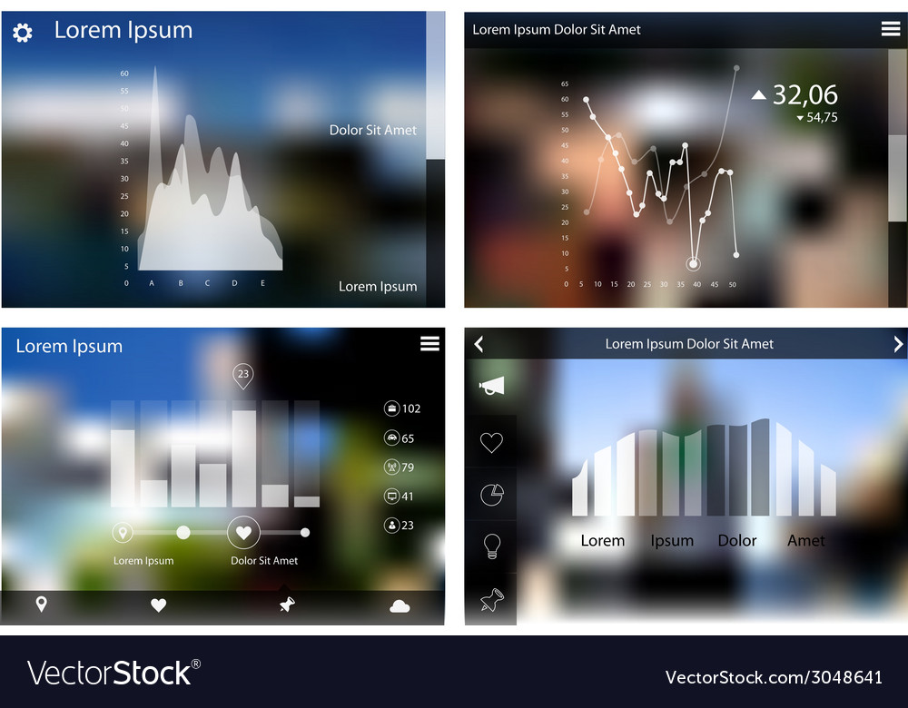 Abstract flat ui statistics templates collection vector | Price: 1 Credit (USD $1)