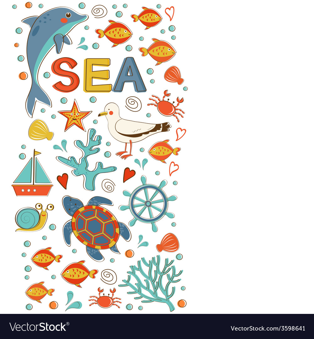 Cute colorful sea collection with various elements vector | Price: 1 Credit (USD $1)