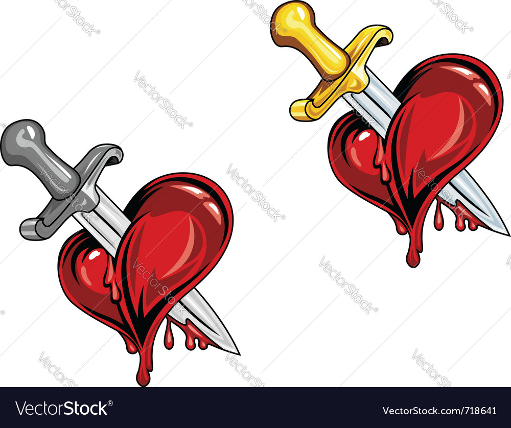 Dagger in heart vector | Price: 1 Credit (USD $1)