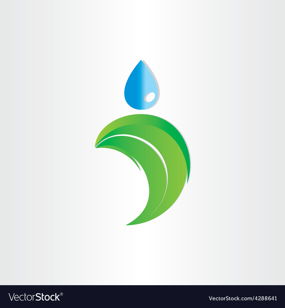 Drop of water on leaf freshness eco symbol vector | Price: 1 Credit (USD $1)