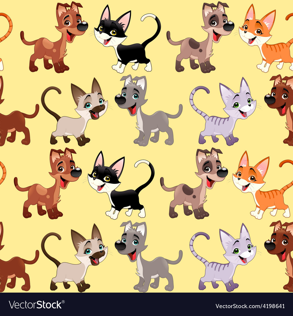 Funny cats and dogs with background vector | Price: 1 Credit (USD $1)