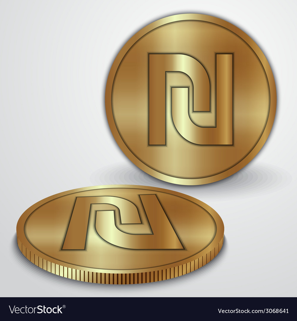 Gold coins with israeli sheqel currency sign vector | Price: 1 Credit (USD $1)