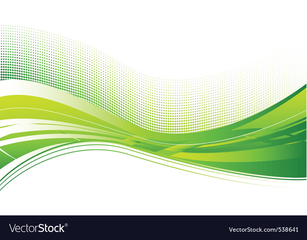 Green wave background on white vector | Price: 1 Credit (USD $1)