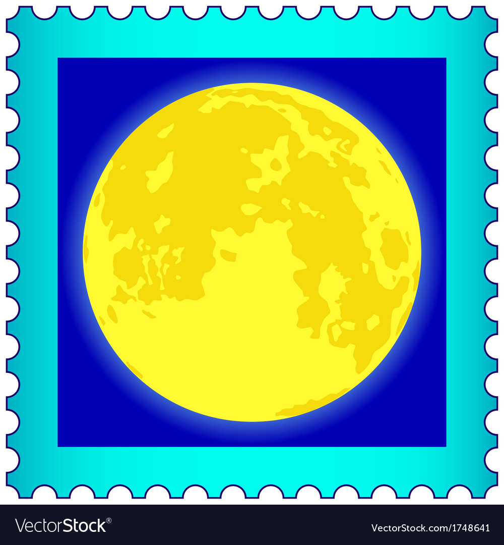 Moon on postage stamp vector | Price: 1 Credit (USD $1)