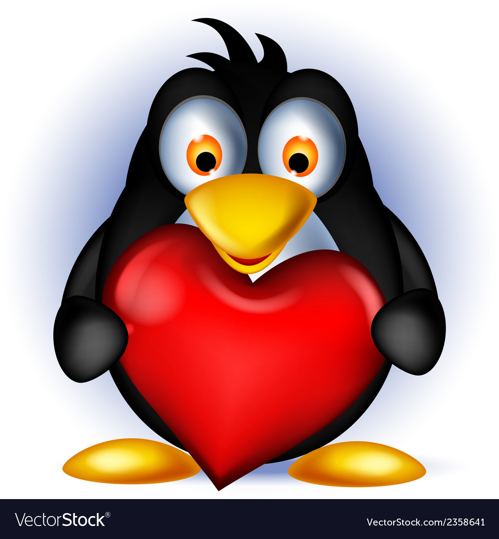 Penguin cartoon holding heart love vector | Price: 1 Credit (USD $1)