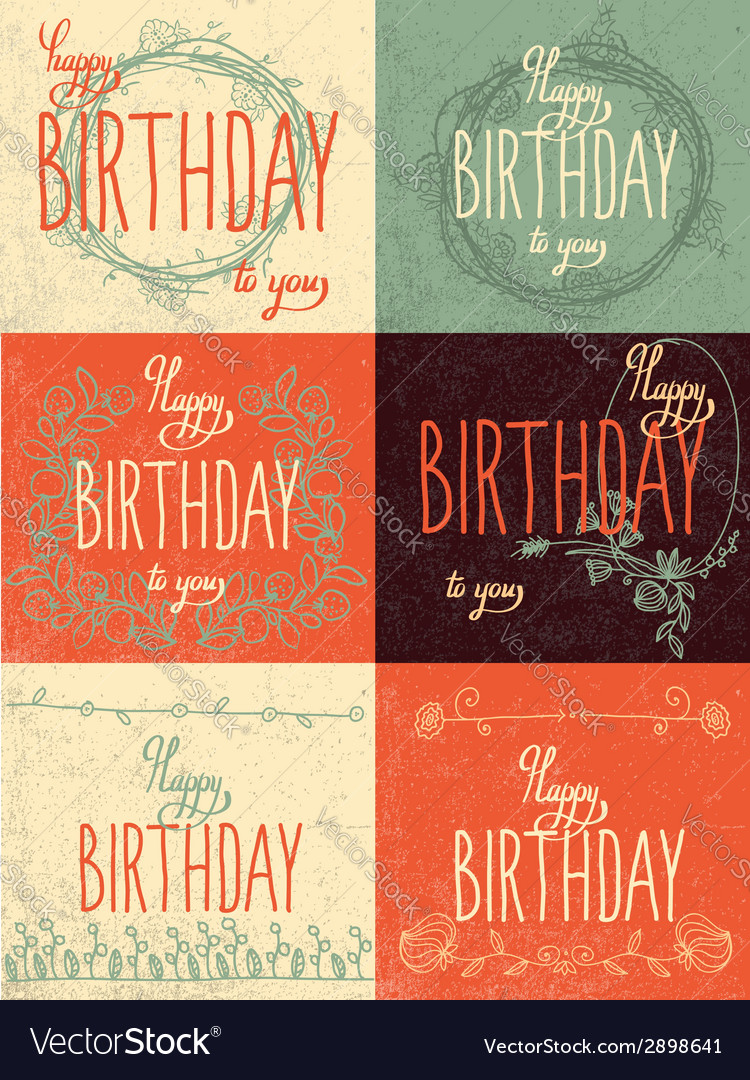 Set happy birthday hand lettering calligraphy vector | Price: 1 Credit (USD $1)