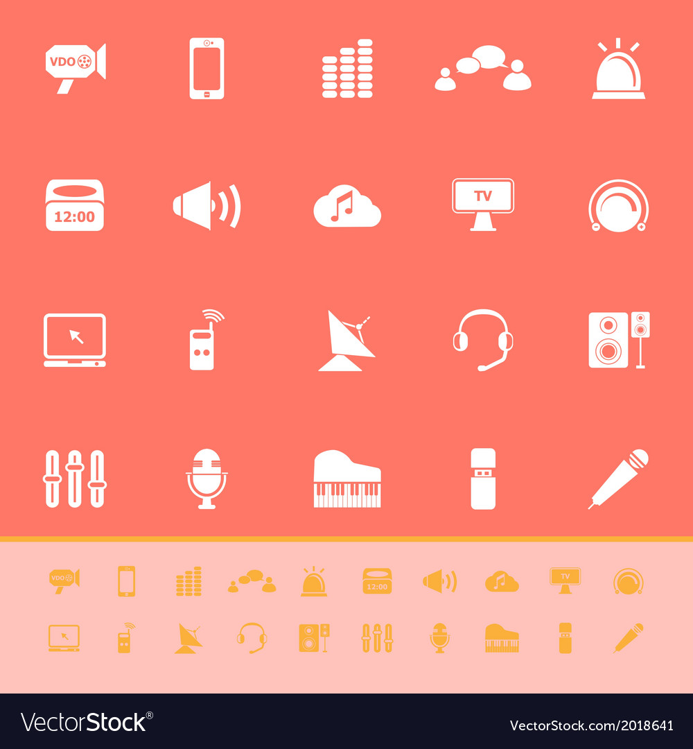 Sound color icons on orange background vector | Price: 1 Credit (USD $1)