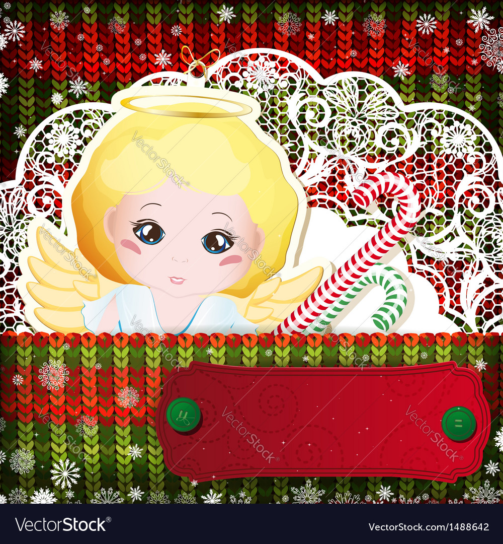 Christmas decorations on handmade knitted vector | Price: 3 Credit (USD $3)