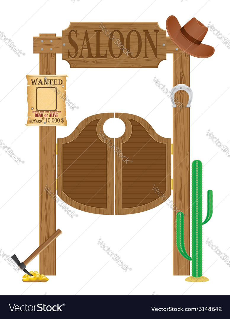 Doors in western saloon 02 vector | Price: 1 Credit (USD $1)